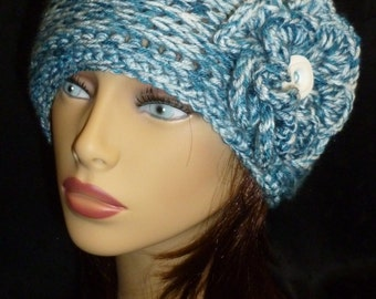 Womens Crochet Hat, Girls Beanie, Ribbed Crochet Hat, Winter Fashion, Crochet Accessories - Blue and White