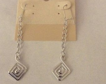 White Gold Plated Spiral Square Earrings