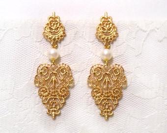 Boho Gold Filigree earrings Ethnic Tribal Hippie Statement Evening Elegant Wedding Jewelry Antique Gold Vintage Rhinestone Bridesmaid gift