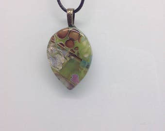 Tear Drop Abstract Pebble Reactive Fused Glass Pendant Necklace