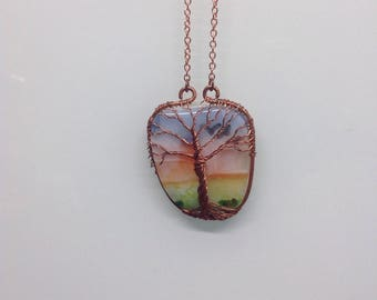 Copper Wrapped Tree of Life Fused Glass Cab Pendant Necklace