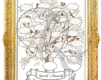 Family Tree Printable Template Digital Download-genealogy chart family reunion tree scrapbooking photo album baby book wedding album no 0012