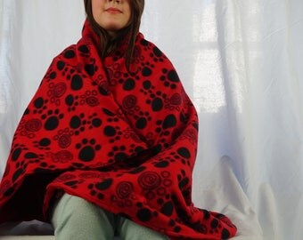 Red paws fleece blanket, throw blanket, lap blanket