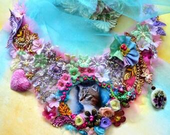 Artsy necklace Shabby chic necklace boho necklace gypsy beaded necklace tattered necklace art necklace art to wear necklace