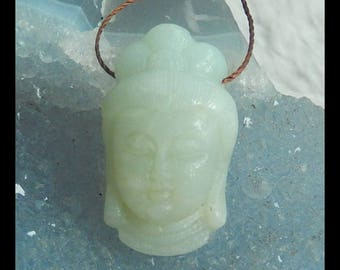 Carved Amazonite Buddha Head Pendant Bead,29x17x11mm,8.9g(d0615)