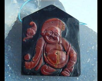 Carved Multi-Color Picasso Jasper,Obsidian Intarsia Buddha Pendant Bead,47x38x7mm,23.2g(e0686)