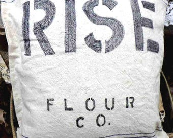 RISE - cushion made specially for lay on words for Easter  - bread/Jesus - made from flour sack and upcycled filler