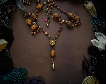 Long necklace with Teardrop Pendant.