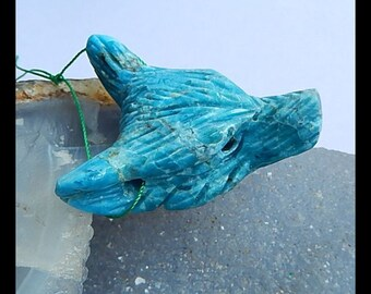Carved Blue Apatite Wolf Head Gemstone Pendant Bead,44x34x14mm,21.3g