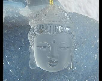 New,Carved Natural White Quartz Buddha Head Pendant Bead,37x26x13mm,20.8g