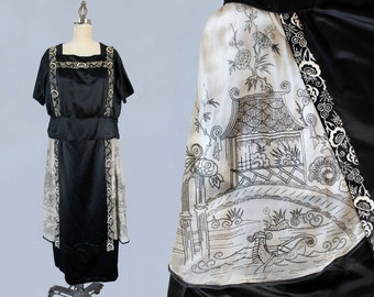 Rare 1920s Dress / 20s Chinoiserie EMBROIDERED Figural and Scenic Dress / Silk Satin / AMAZING Museum Piece