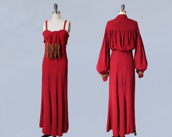Rare!! 1930s Gown and Jacket Set / Evening Dress and Bolero / Mink Fur Trim / RED Crepe / STUNNING