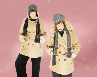 Vintage Winter Coat - 70s Hippie Heavy & WARM Camel Jacket with Belt - Faux Fur Lining