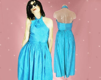 Backless Prom Dress, 70s Vintage Halter Midi Dress, Matching Bolero Jacket, Full Skirt Dress with POCKETS, Formal Midi, Halter Neck Backless