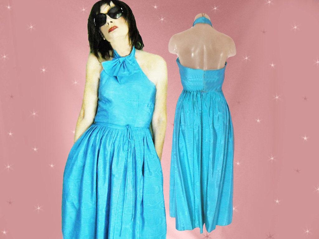 Backless Prom Dress 70s Vintage Halter Midi Dress Matching