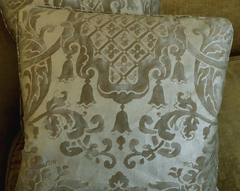 Mariano Fortuny Fabric Cotton Designer Custom Throw Pillows Metallic Carnavalet Tan New Set of 2