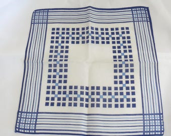 Vintage Blue and White Checked and Striped Hankie Handkerchief Pocket Square