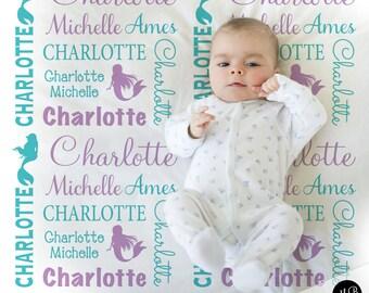 Mermaid Baby Blanket in Purple and Teal, Girl, personalized blanket, custom blanket, baby blanket, personalized blanket, mermaid blanket