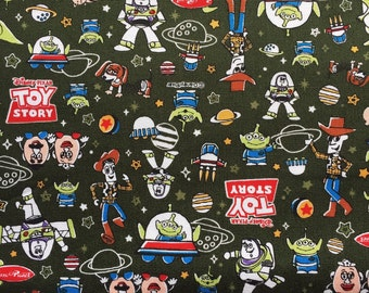Toy story  fabric dark green colour fabric