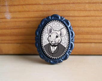 mister mouse - victorian style brooch - black and white portrait - boy
