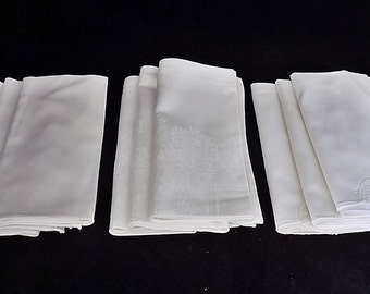Lot of 9 Vintage Linen Napkins Three Sets of 3 White Sitched
