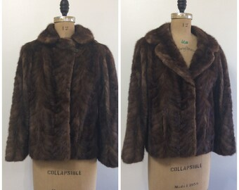 Vintage 1950s Patrick Furriers Mink Fur Coat Jacket 50s