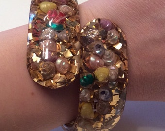 1950s Confetti Lucite Shell Bracelet 50s Bypass Clamper