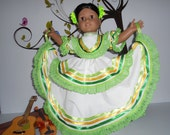 "Mexican folklorico White-Green yellowJalisco dress fits American Girl and similar 18"" dolls"