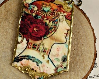 Alphonse Mucha Inspired Pendant Necklace Handcrafted Urban Gypsy Art Nouveau Pendant Necklace N 101