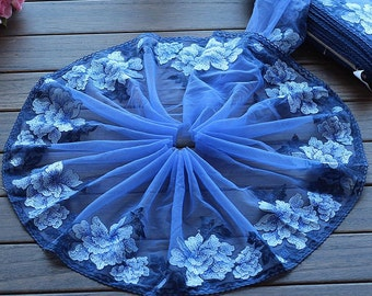 2 Yards Lace Trim Floral Embroidered Scalloped Blue Tulle Lace 9 Inches Wide High Quality