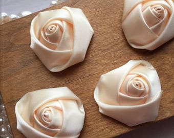 """4pcs Ivory Pink Satin Rose Flowers For Headwear Decor Fashion Costume 1.37"""" Wide"""