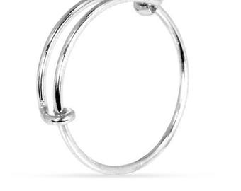 Finger Rings, Adjustable Ring, Size 6-8, Sterling Silver, 1 mm - 1 Pc Wholesale Price (11645)/1