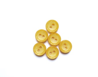 6 Yellow Buttons, Vintage French Buttons, Fancy