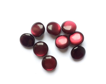 4 Burgundy Red Buttons, Shank, Iridescent Red, Vintage Buttons