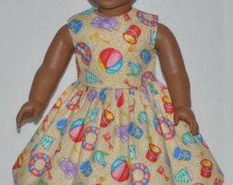Sand Color Beach Party Doll Dress Made To Fit 18 Inch American Girl Doll Clothes