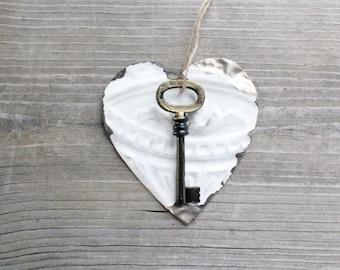 Large Key . Key to My Heart - rustic wedding decor . tin ceiling tile . rustic tin . tin heart . white heart . shabby chic art