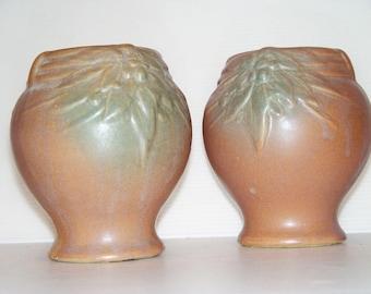 SALE-McCoy Pottery-Vintage Set of 2 Vases Urns-Terra Cotta Color- 1930s