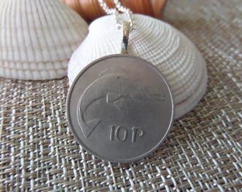 Irish Coin Necklace with Salmon and Harp Silver Color Coin, 10 Pence 1969