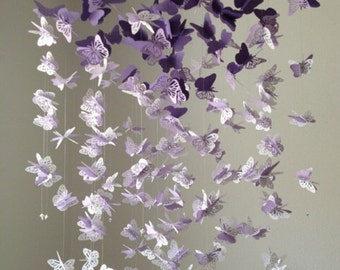 Paper Lace Chandelier Monarch Butterfly Mobile - PURPLE and WHITE Mix - Baby Nusery- Shower Gift