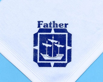 60% DISCOUNT: Gents Father Handkerchief with a Navy Blue Vintage Sailing Ship Seaman Print