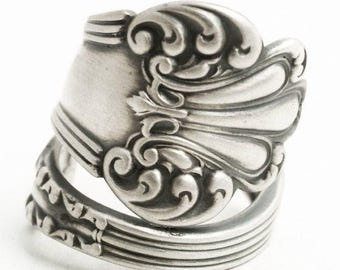 "Victorian Sterling Spoon Ring, Watson ""Olympia"" Antique and Elegant Design, Rococo Ring, 5th Anniversary Gift for Her, Custom Ring Size 6507"