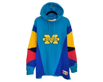 Vintage Super 90's Michigan Wolverines U of M In The Paint Basketball Gear Color Block 100% Cotton Hoodie - Large