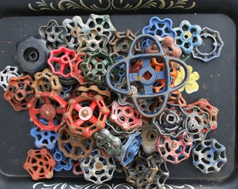 Vintage Valve/Faucet Handles 80 Handles/Super As-Is Batch-FREESHIPPING-Faucet Knobs-Funky Crafts Handles-Altered Art-Found Art