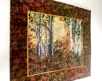 Quilted Wall Hanging  Fiber Art  Woodland Sunrise  Confetti Quilt Landscape  Autumn Birch Tree Decor  Sally Manke  Art Quilts for Sale