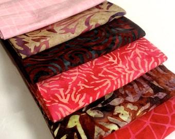 Batik Fabric Bundle  6 Fat Quarters  Quilting Weight Cotton Fabric Boundless Mixers  Stash Builder Quiltsy Destash Party Discount Fabric Pac