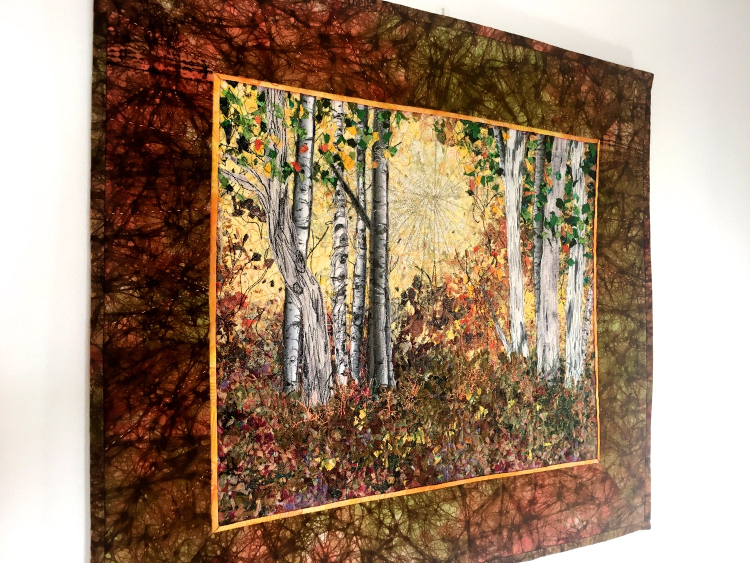 Quilted Wall Hanging Fiber Art Woodland Sunrise Confetti