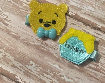 Winnie The Pooh Headbands or Clip Set, Tigger Headband Bow, Piglet Headband Bow, Eeyore Headband Bow, Winnie The Pooh Birthday, Edens Bows
