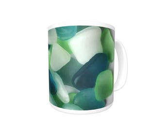 Sea Glass Photo Mug, Blue and Green Sea Glass Photo on White Ceramic Mug, dishwasher & microwave safe, gift, hostess gift, housewarming gift