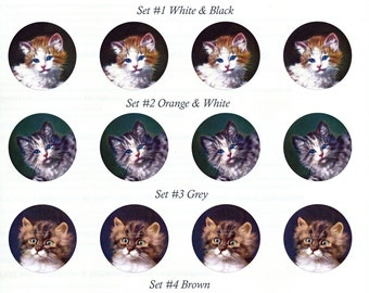 Cat Stickers   Envelope Seals   Kittens Stickers   Set of 8 Indv or 20 1.5 inch Seals   Set No. 4