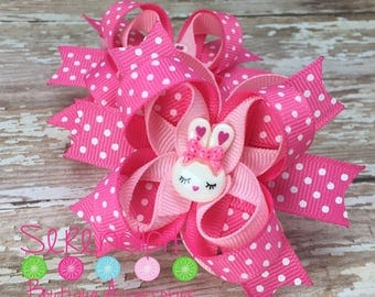 Set of Two Easter Hair Bows - Light pink Hot pink and White Polka Dots Easter Bunny Girls Mini Boutique Hair Bow - Set of Two
